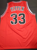 Scottie Pippen Chicago Bulls Autographed Custom Red Basketball Style Jersey w/GA coa