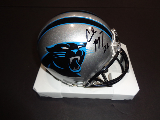 Christian McCaffery Carolina Panthers Autographed Riddell Mini Helmet GA coa