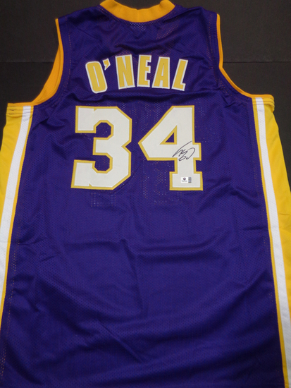 Shaquille O'Neal Los Angeles Lakers Custom Basketball Style Jersey GA coa