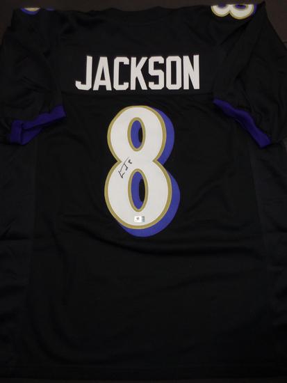 Lamar Jackson Baltimore Ravens Autographed Custom Football Jersey GA coa