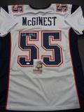 Willie McGinest New England Patriots Autographed & Inscribed Custom Jersey JSA W coa