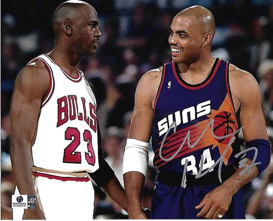 Charles Barkley Phoenix Suns Autographed 8x10 w/Jordan Photo GA coa