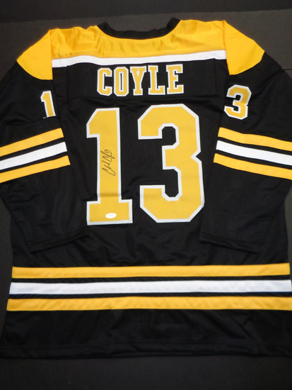 Charlie Coyle Boston Bruins Autographed Custom Hockey Jersey JSA W coa