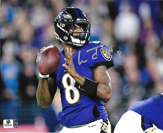 Lamar Jackson Baltimore Ravens Autographed 8x10 Photo GA coa