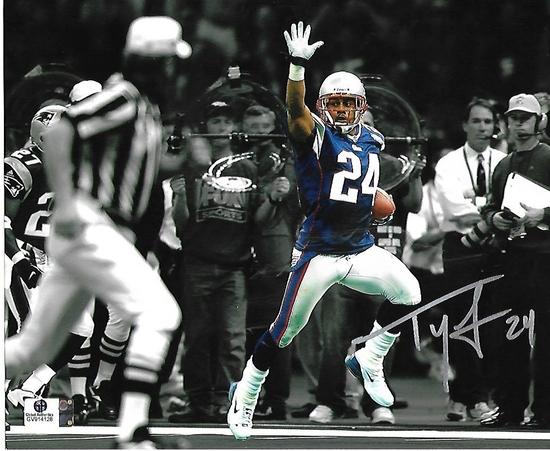 Ty Law New England Patriots Autographed & Inscribed 8x10 Photo GA coa