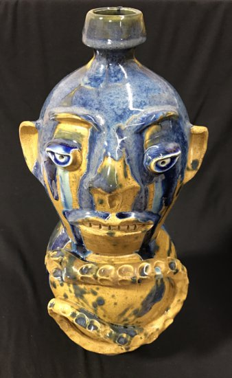 Double Stacked Face Jug with Snake by Randy Tobias