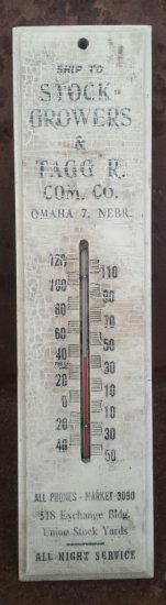 Stock Grower Tagg South Omaha Union Stock Yard  wood thermometer