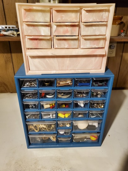 2 storage bins with contents
