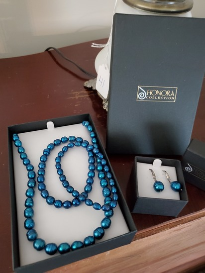 Honora Collection Necklace and Earrings Blue