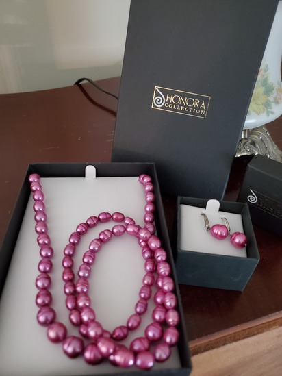 Honora Collection Necklace and Earrings Purple
