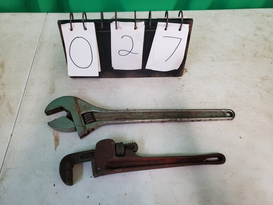 18 inch Cresent Wrench and Pipe Wrench