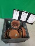 Milk Crate of Clay Flower Pots