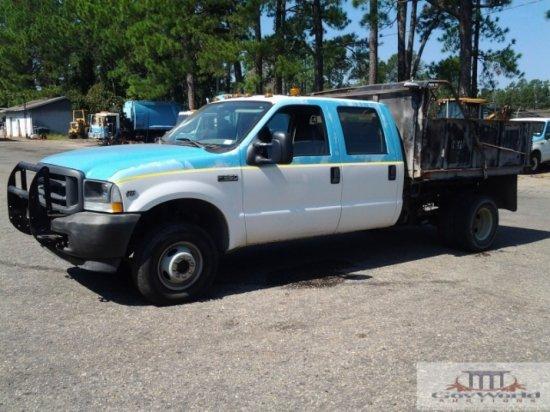 2002 FORD F-350 CREW CAB DUMP TRUCK: VIN# 1FTWW33S12EC79276