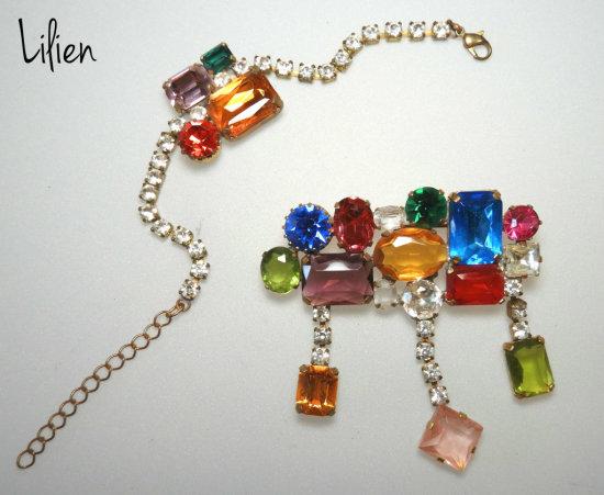 Lilien Czechoslovakian Glass Brooch and Bracelet Set