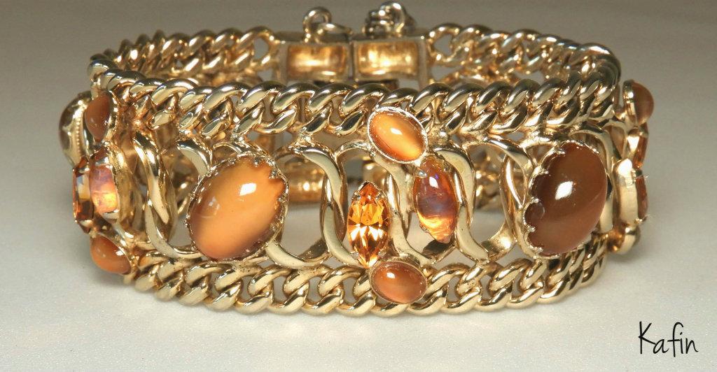 Vintage Kafin Cat's Eye and Chain Bracelet