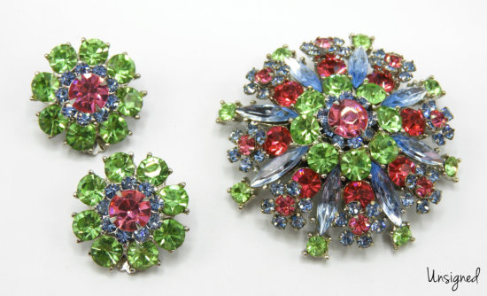 Vintage Green, Blue, and Pink Rhinestone Brooch and Earring Set