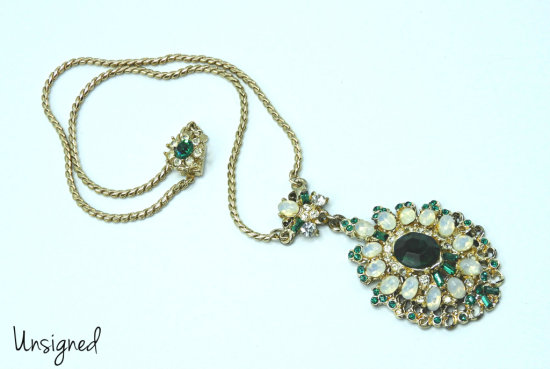 Vintage Opaline and Green Rhinestone Pendant Necklace