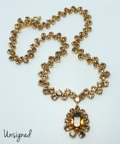 Vintage Amber Colored Rhinestone Necklace with Drop