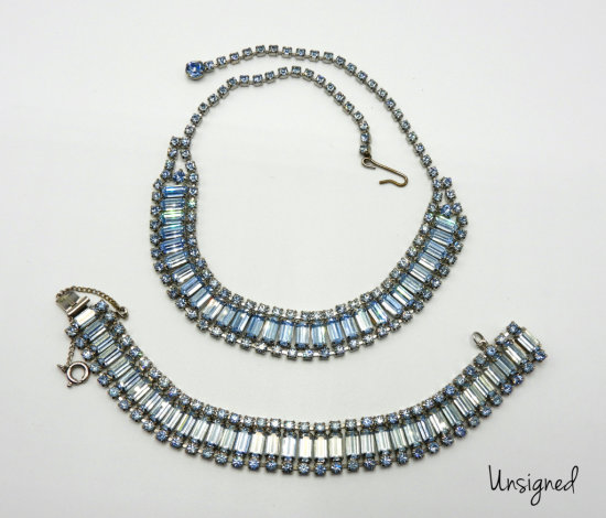 Vintage Blue Baguette Rhinestone Choker and Bracelet set