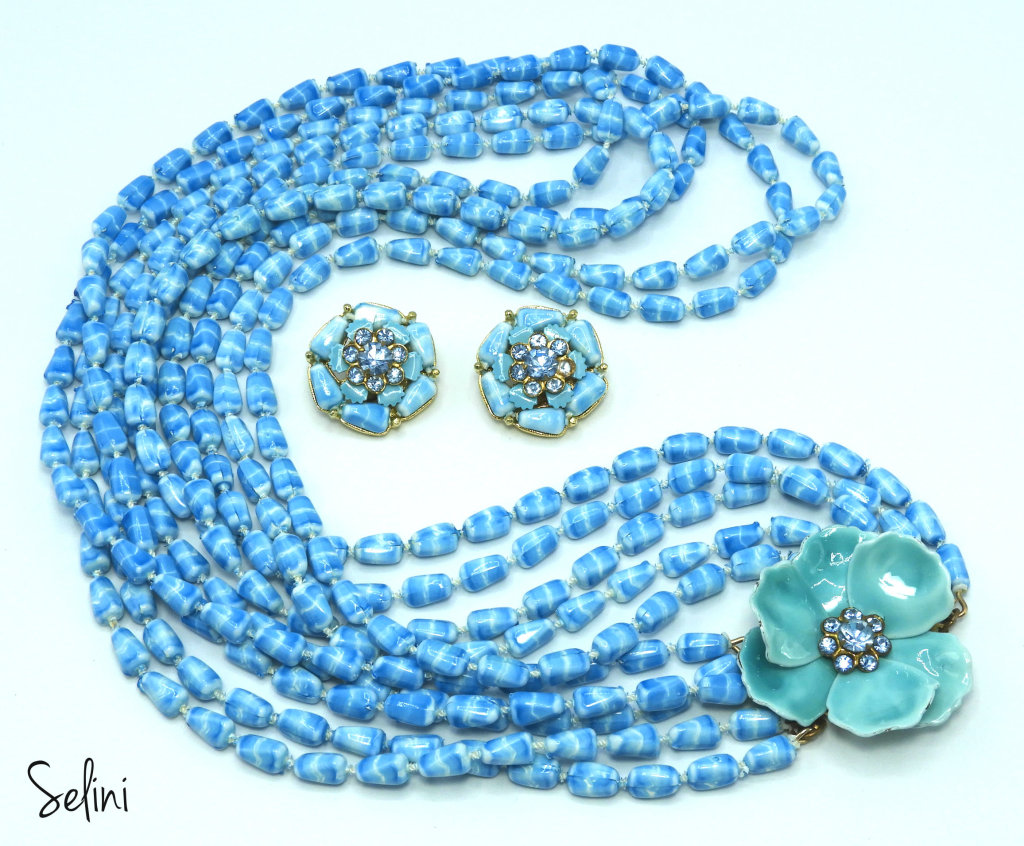 Vintage Selini Blue Multi-Strand and Flower Necklace and Earring Set