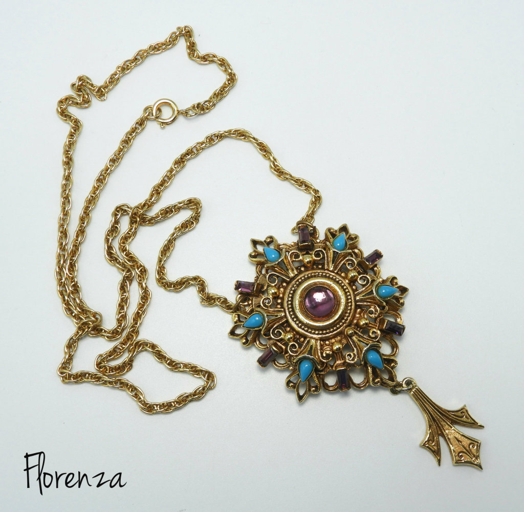 Vintage Florenza Pendant Necklace