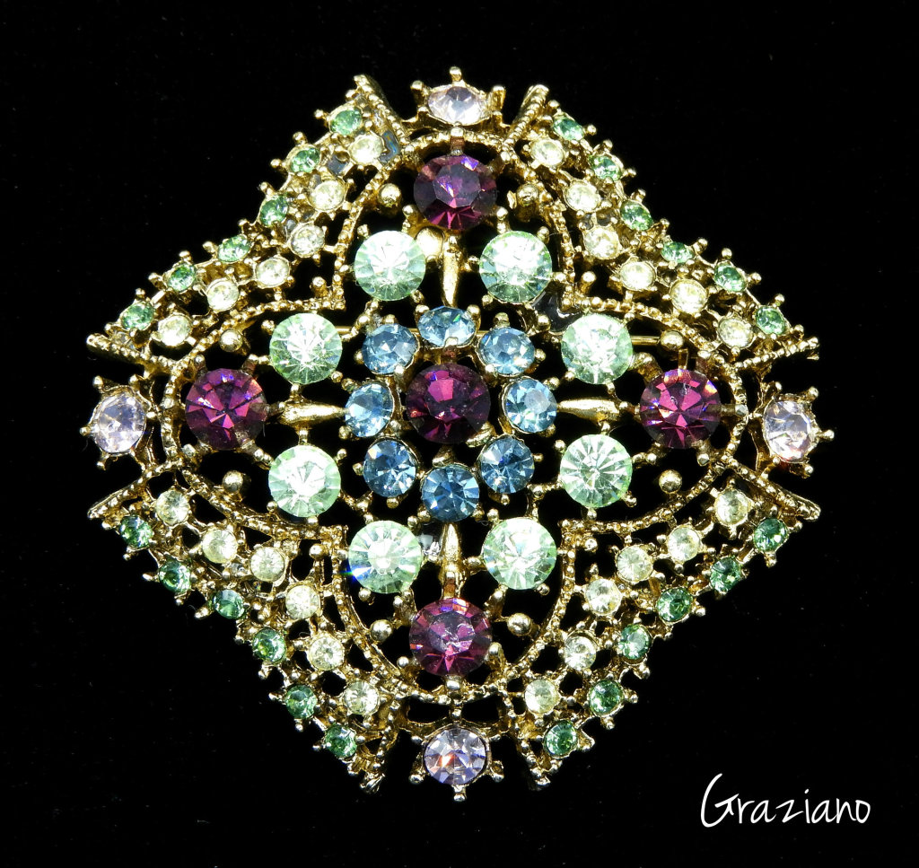 Stunning Graziano Rhinestone Brooch