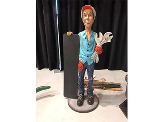 Mechanic Statue & Chalk Board
