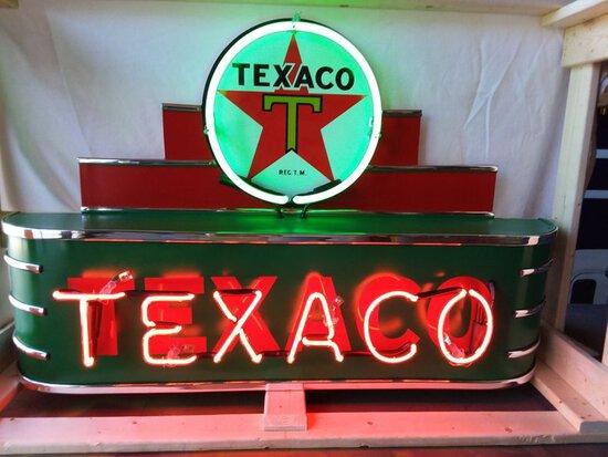 Texaco Marquee Tin Neon Sign