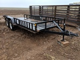 16FT BUMPER PULL UTILITY TRAILER W/ RAMPS, MSO TITLE