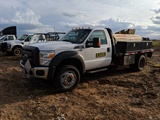 2012 FORD F550 4X4 DUALLY, V-10, 148000 MILES, RIGGED W/ AIR COMPRESSOR, 50FT GREASE GUN, FLAT BED &