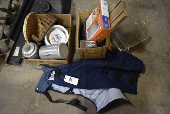 2 boxes with coffee pots, wicker items, propane torch kit, doggy door,