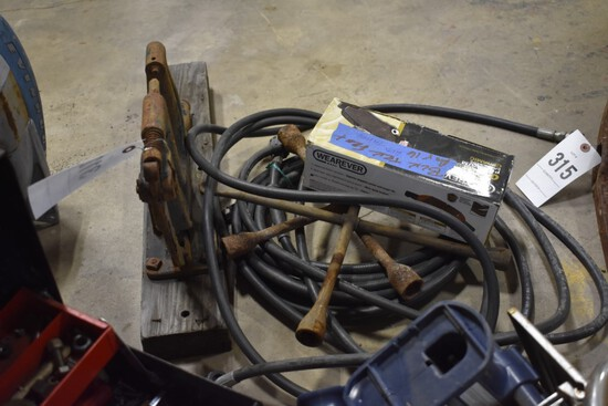 Wall mount Clamp, propane lines, 2 four ways, and trailer brakes