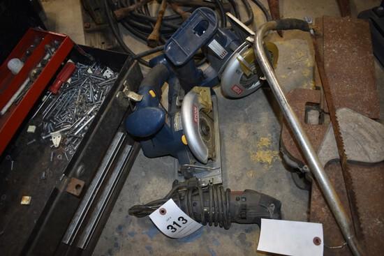 2 Ryobi battery powered Circular saws and craftsman angle grinder