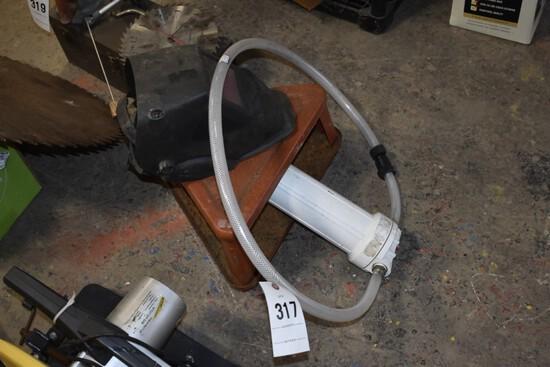 Welding helmet, pool filter, metal 3 wheel shop stool