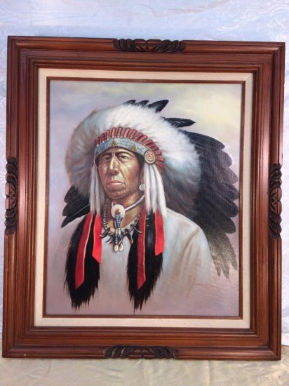 Z. Garcia Indian Chief oil painting
