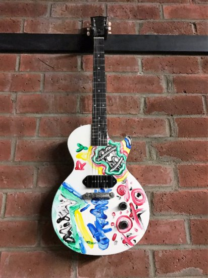 Epilepsy Foundation charity item - My Chemical Romance band painted & signed guitar.