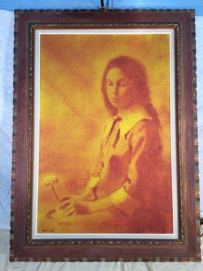 "Bill Stilson original painting on linen canvas – ""Girl with Flower"""