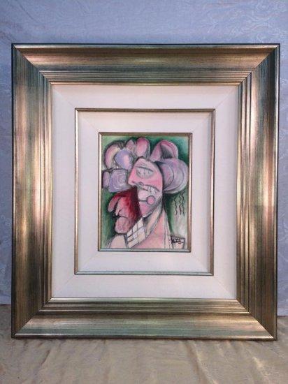 "Alexandra Nechita original oil on canvas, ""Chocolate eyes"""