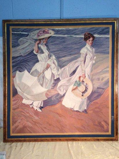 "Large framed tapestry of ""Seaside Walking"" by Sorolla"