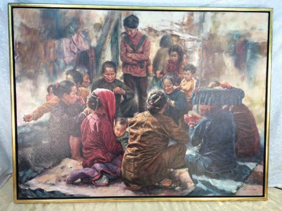 """Wai Ming original oil on canvas, """"The Gamblers"""" or """"Gamble"""" 1979"""