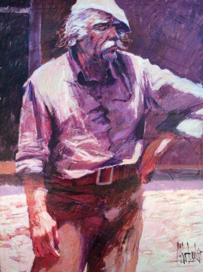 "Aldo Luongo large signed original oil on canvas, ""On the Sidewalk""  - 1981"
