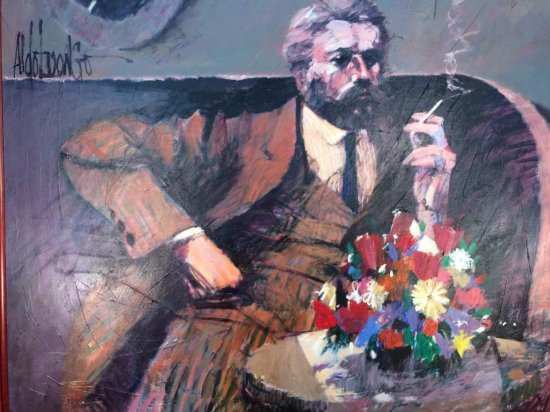 "Aldo Luongo signed original oil on canvas, ""Portrait of Carlos Paulucci"""
