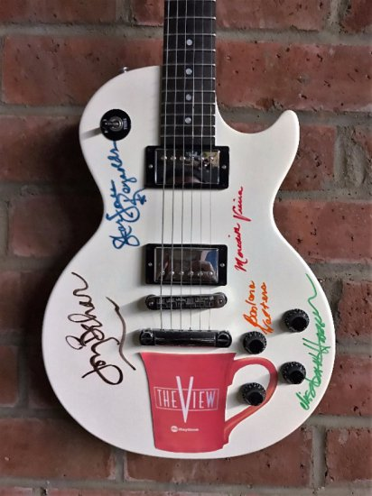 """Epilepsy Foundation charity item - Gibson guitar decorated and signed by the women of """"The View"""""""