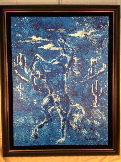"Michael Godard signed original horse acrylic on canvas ""Untitled"""