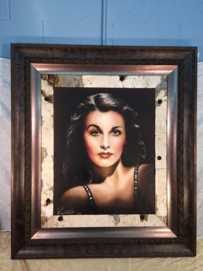 """Bill Mack Hollywood sign oil on canvas """"Vivien leigh"""" variation #1 dated 2007"""