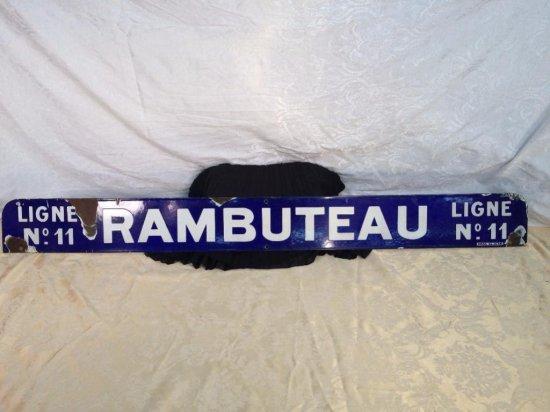 LARGE RAMBUTEAU PARIS TRAIN STATION PORCELAIN SIGN