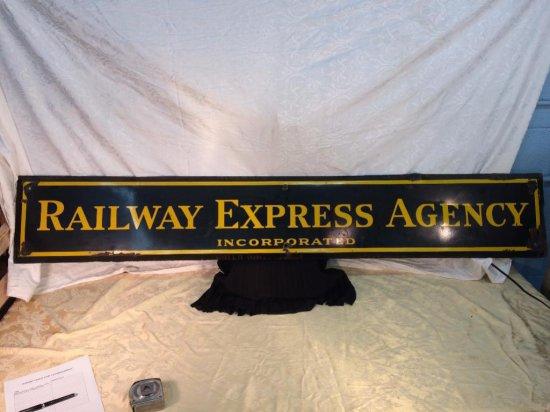 Large Railway Express agency porcelain sign