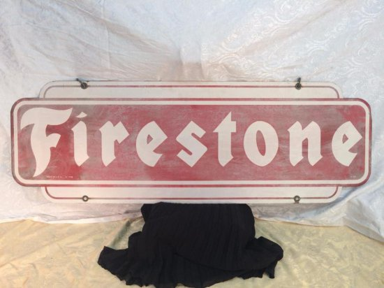 Hanging metal Firestone sign - double sided