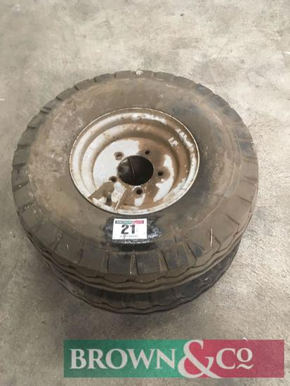 Pair 7.00-12 wheels and tyres