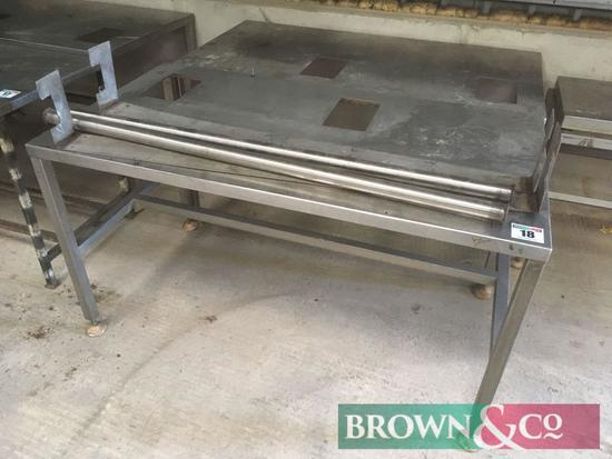 Pair of stainless steel topped factory tables